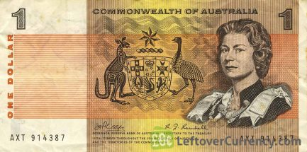 1 Australian Dollar banknote - Commonwealth of Australia obverse accepted for exchange