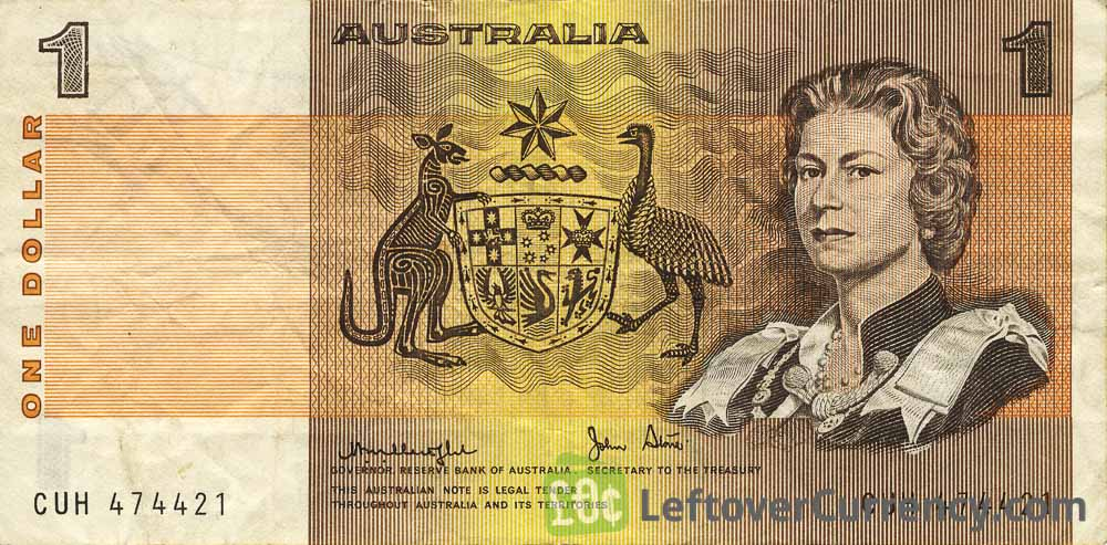 1 Australian Dollar banknote obverse accepted for exchange