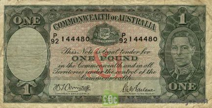 1 Australian Pound banknote - King George VI obverse accepted for exchange