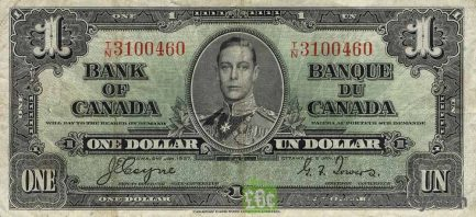 1 Canadian Dollar banknote - border series 1937 obverse accepted for exchange