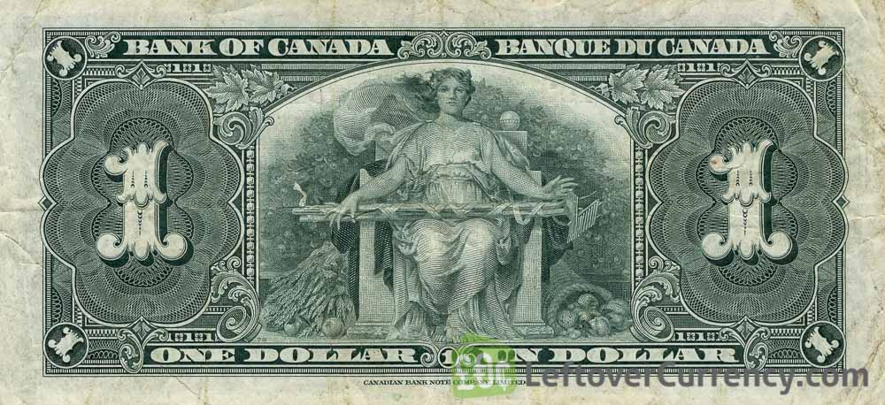 1 Canadian Dollar banknote - border series 1937 reverse accepted for exchange