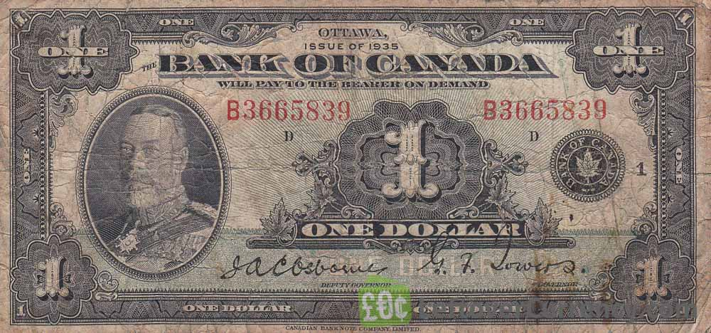 1 Canadian Dollar banknote series 1935 obverse accepted for exchange