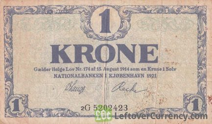 1 Danish Krone banknote 1914-1916 issue obverse accepted for exchange