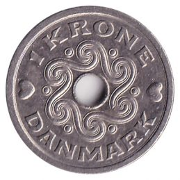 1 Danish krone coin obverse accepted for exchange