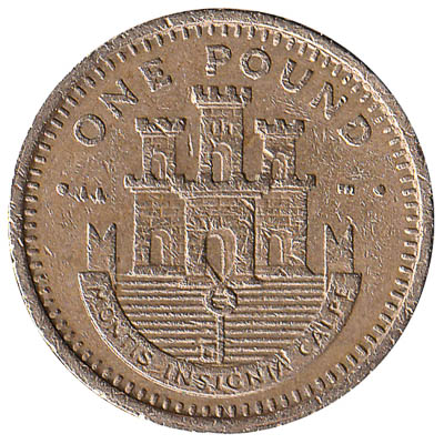 1 Gibraltar Pound coin obverse accepted for exchange