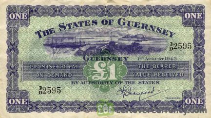1 Guernsey Pound banknote - Guernsey seal obverse accepted for exchange