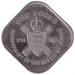 1 Jersey Pound coin (square) obverse accepted for exchange