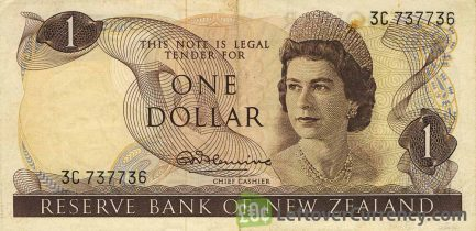 1 New Zealand Dollar banknote series 1967 obverse accepted for exchange