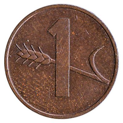 1 Rappen coin Switzerland obverse