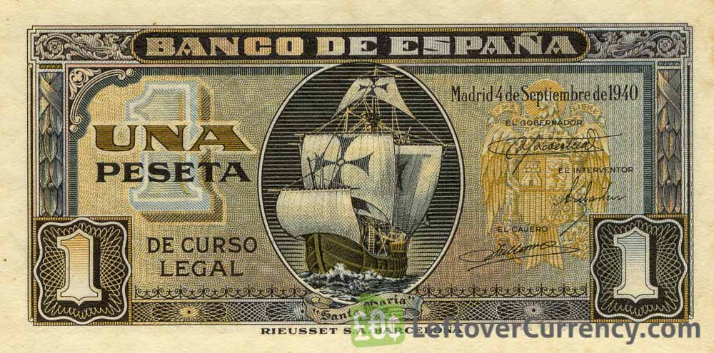 1 Spanish Peseta banknote - Santa Maria obverse accepted for exchange