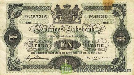 1 Swedish Krone banknote - 1914 issue obverse accepted for exchange