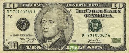 10 American Dollars banknote series 1999 obverse accepted for exchange
