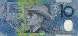 10 Australian Dollars banknote - Andrew Barton Paterson obverse accepted for exchange