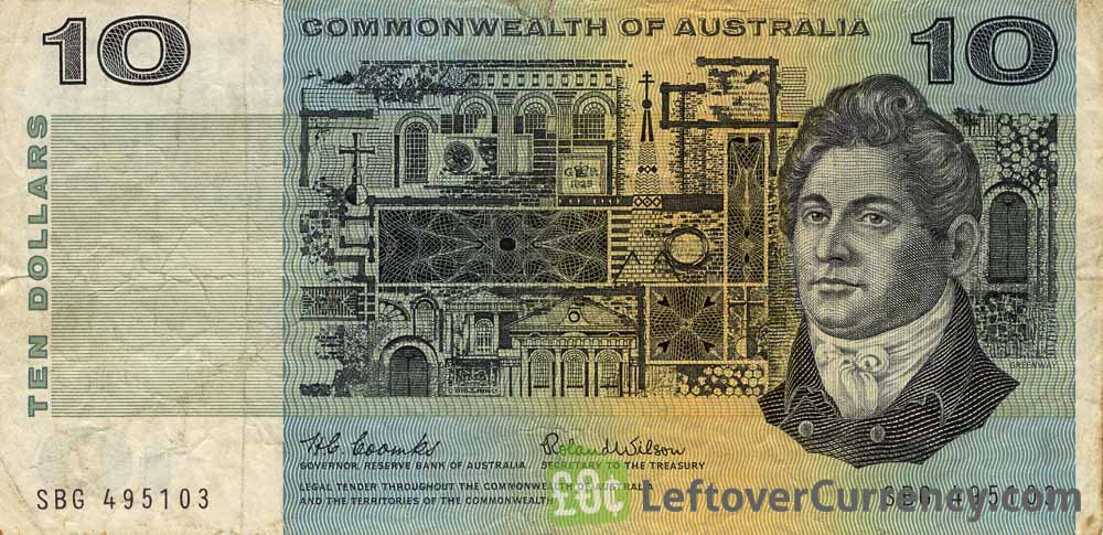 10 Australian dollars banknote Commonwealth of Australia obverse accepted for exchange