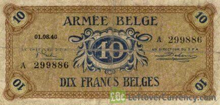 10 Belgian Francs banknote - Armée Belge obverse accepted for exchange