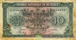 10 Belgian Francs banknote - type Londres obverse accepted for exchange