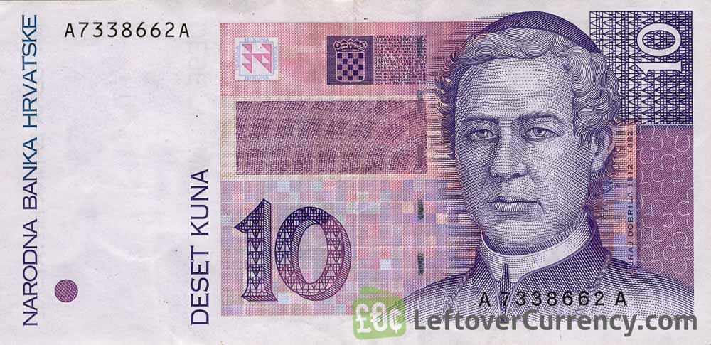 10 Croatian Kuna banknote series 1995 obverse accepted for exchange