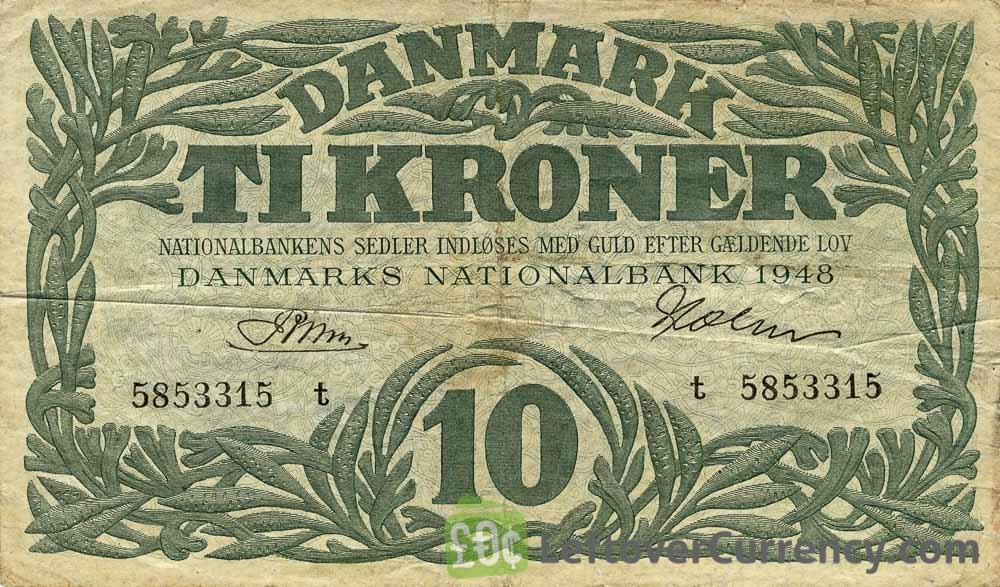 10 Danish Kroner banknote 1944-1946 issue obverse accepted for exchange
