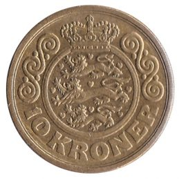 10 Danish Kroner coin obverse accepted for exchange