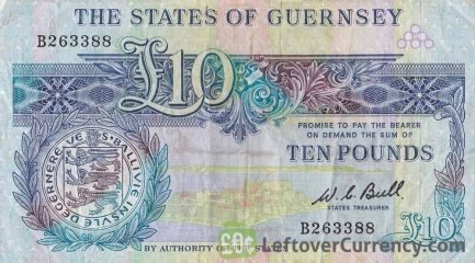 10 Guernsey Pounds banknote (General Sir Isaac Brock) obverse accepted for exchange
