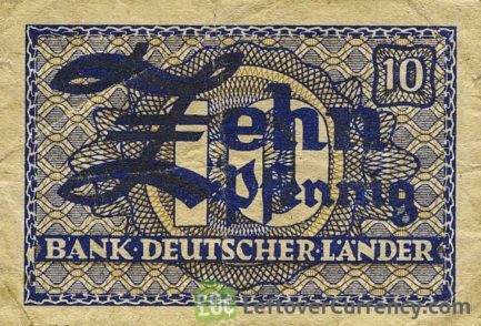 10 Pfennig banknote Germany - Bank Deutscher Länder obverse accepted for exchange