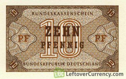 10 Pfennig banknote Germany - Bundeskassenschein obverse accepted for exchange