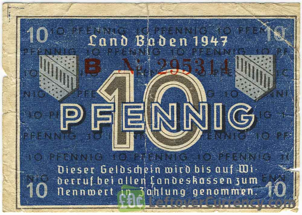 10 Pfennig banknote Germany - Land Baden 1947 obverse accepted for exchange