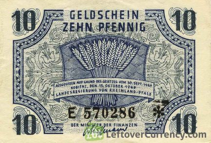 10 Pfennig banknote Germany - Rheinland-Pfalz 1947 obverse accepted for exchange