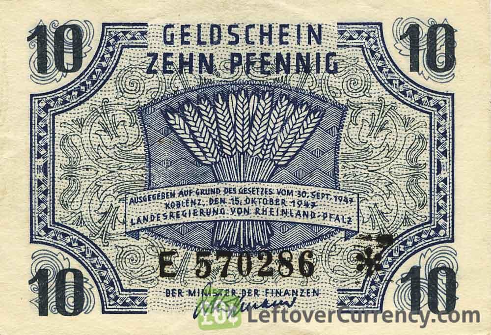 10 Pfennig Germany Rheinland Pfalz 1947 Exchange Yours Today