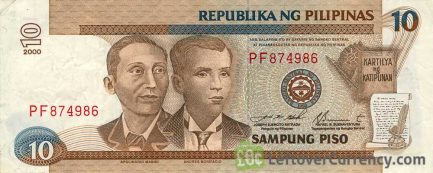 10 Philippine Peso banknote - Mabini and Bonifacio obverse accepted for exchange