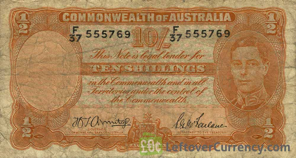 10 Shilling banknote Australia - manufacturers obverse accepted for exchange