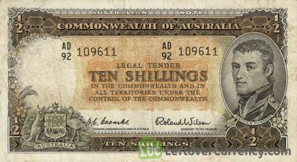 10 Shilling banknote Australia - Matthew Flinders obverse accepted for exchange
