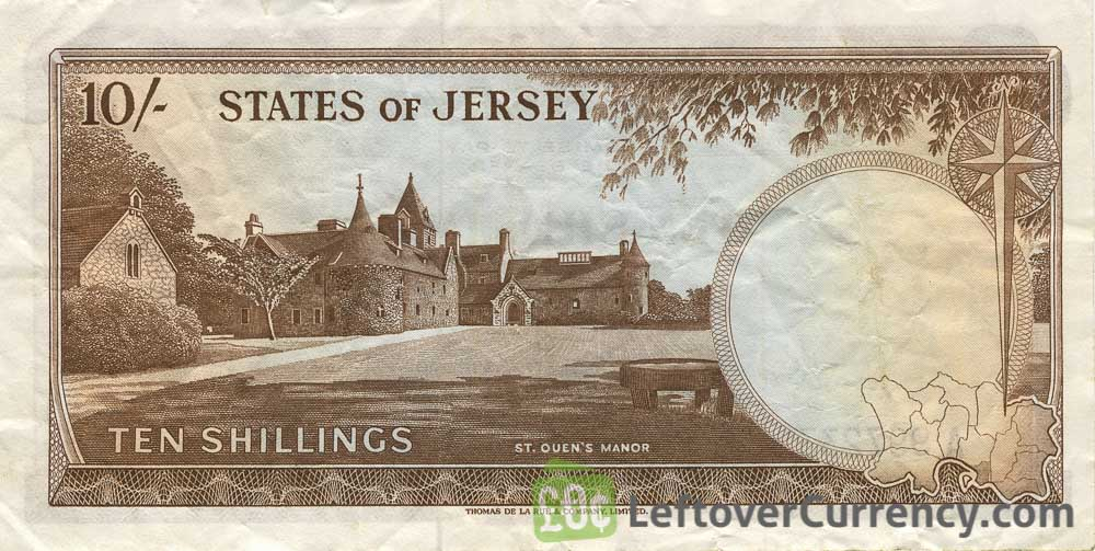10 Shillings banknote Jersey - St. Ouen's Manor reverse accepted for exchange