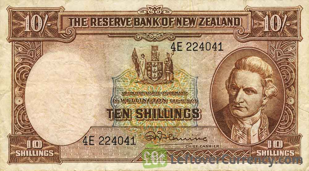 10 Shillings banknote New Zealand - James Cook obverse accepted for exchange