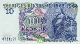 10 Swedish Kronor banknote - Svea commemorative reverse accepted for exchange