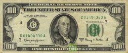 100 American Dollars banknote series 1963 obverse accepted for exchange