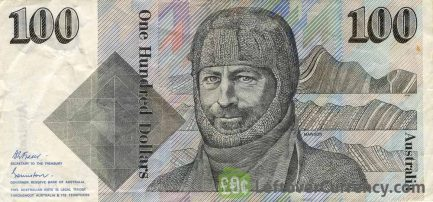 100 Australian Dollars banknote - Sir Douglas Mawson obverse accepted for exchange