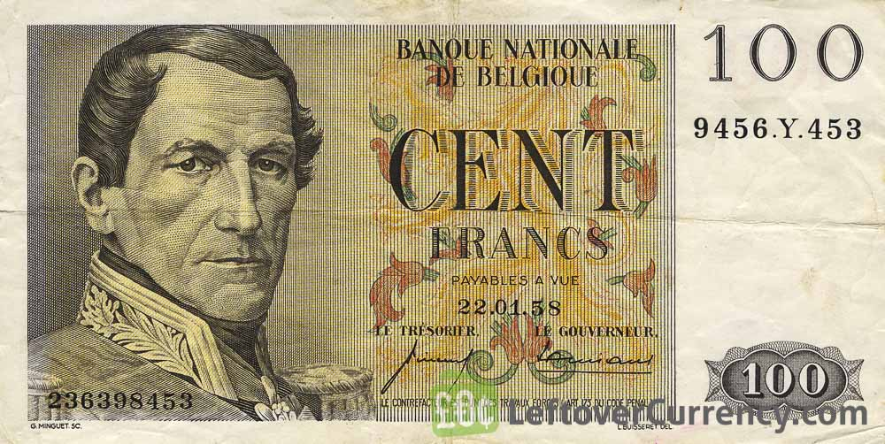 100 Belgian Francs banknote - type Centenaire obverse accepted for exchange