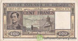 100 Belgian Francs banknote - type Dynastie obverse accepted for exchange