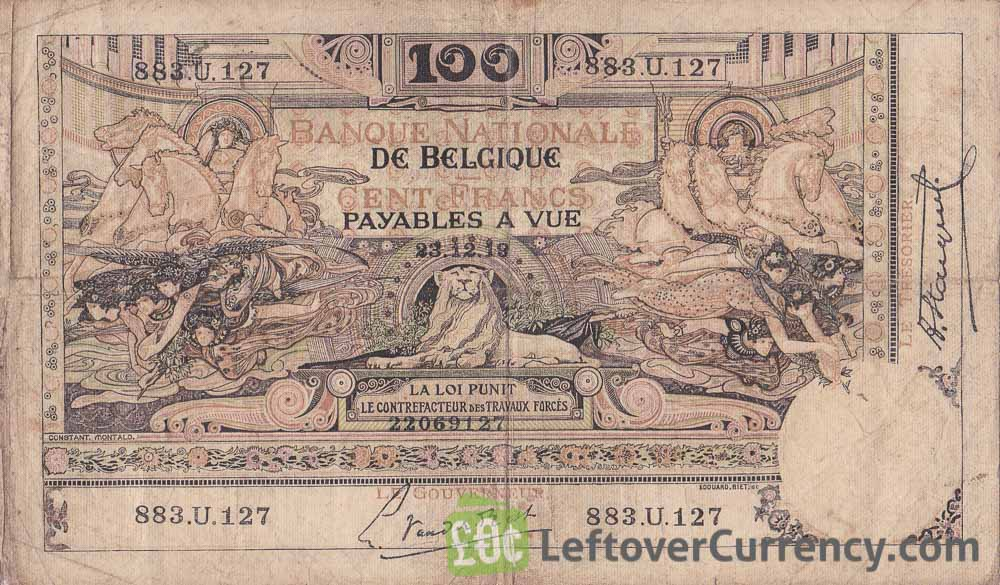 100 Belgian Francs banknote (type Montald) obverse accepted for exchange