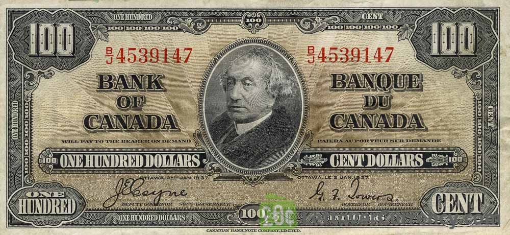 100 Canadian Dollars banknote series 1937 obverse accepted for exchange