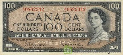 100 Canadian Dollars banknote series 1954 obverse accepted for exchange