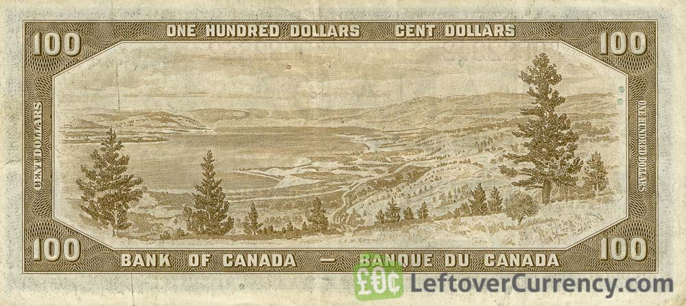 100 Canadian Dollars banknote series 1954 reverse accepted for exchange
