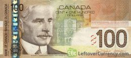 100 Canadian Dollars banknote series 2004 Canadian Journey obverse accepted for exchange