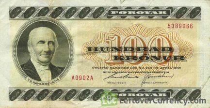 100 Faroese Kronur banknote - V.U. Hammershaimb obverse accepted for exchange