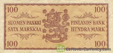 100 Finnish Markkaa banknote - 1955 wheat gold reverse accepted for exchange