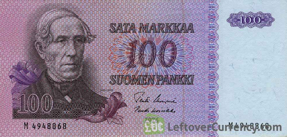 100 Finnish Markkaa banknote - Juhana Vihelm Snellman obverse accepted for exchange