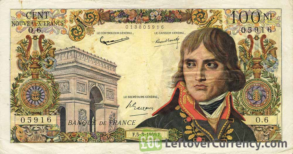 100 French Francs banknote - Napoléon obverse accepted for exchange
