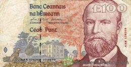 100 Irish Pounds banknote - Charles Stewart Parnell obverse accepted for exchange