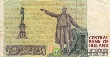 100 Irish Pounds banknote - Charles Stewart Parnell reverse accepted for exchange